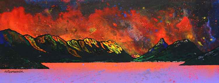Pap of Glencoe Winter Sunset over Loch Leven, Argyll, Scotland. - An original contemporary Scottish landscape painting