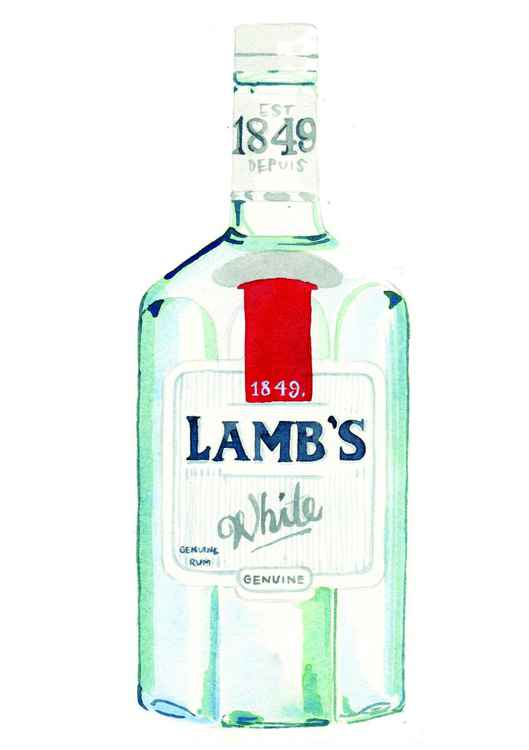 Lamb's Rum Bottle Watercolour -