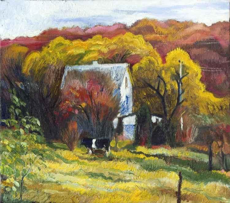 Autumn landscape with cow