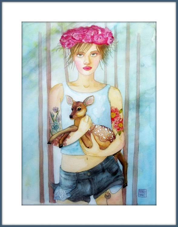 The girl and the fawn - Image 0