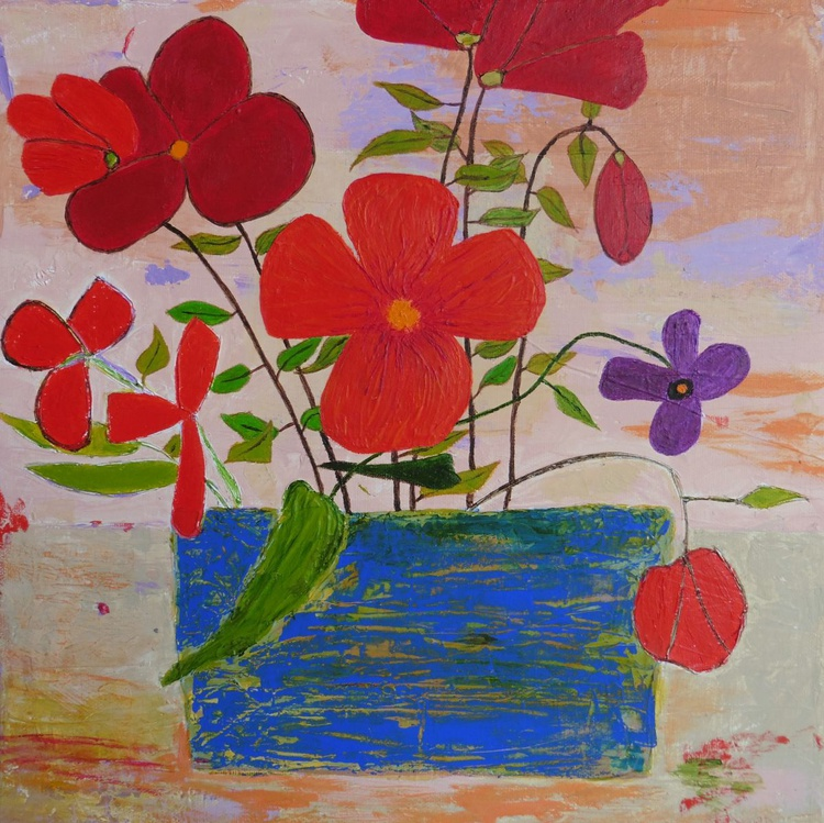 Flowers in a Blue Pot - Image 0