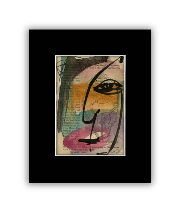 """I See 23"" on Antique Book Page - Abstract Watercolor Painting -"