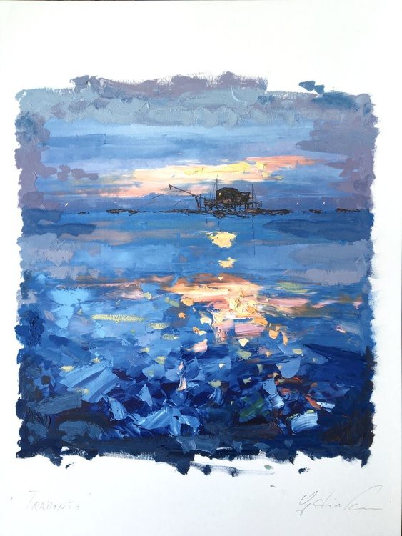 Sunset at the Sea , Blue Seascape Artwork, Blue Art, Seascape Artwork, Sea Art, Wall Art, Wall Paper, Room Home Decor, Small Painting, Bedroom Decor, Seascape Art, Landscape Art, Abstract Art, Gift for Her, Gift for Mother, Christmas Gift, Anniversary Gift, Gift for Him, Gift for Dad - Image 0