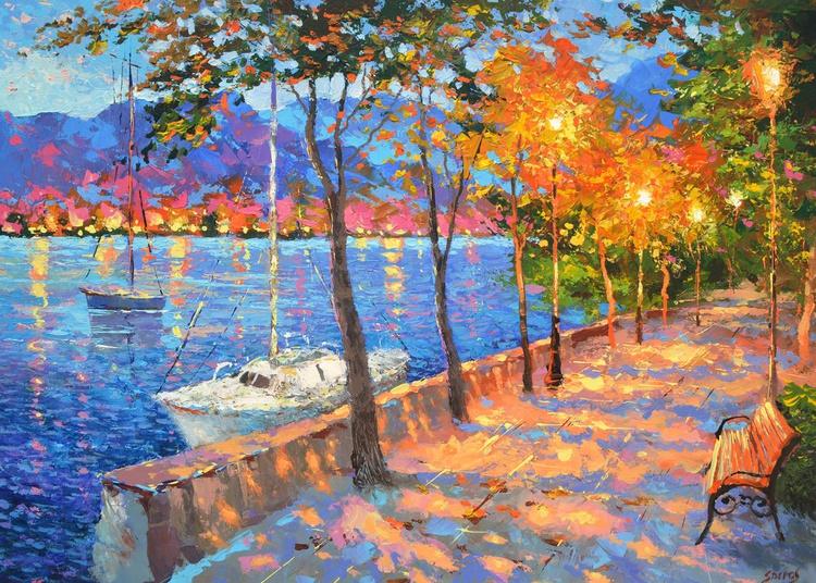 "Blue Bay - original paintings by Dmitry Spiros, 100cm x 70cm, (40""x 28""), 2016 - Image 0"