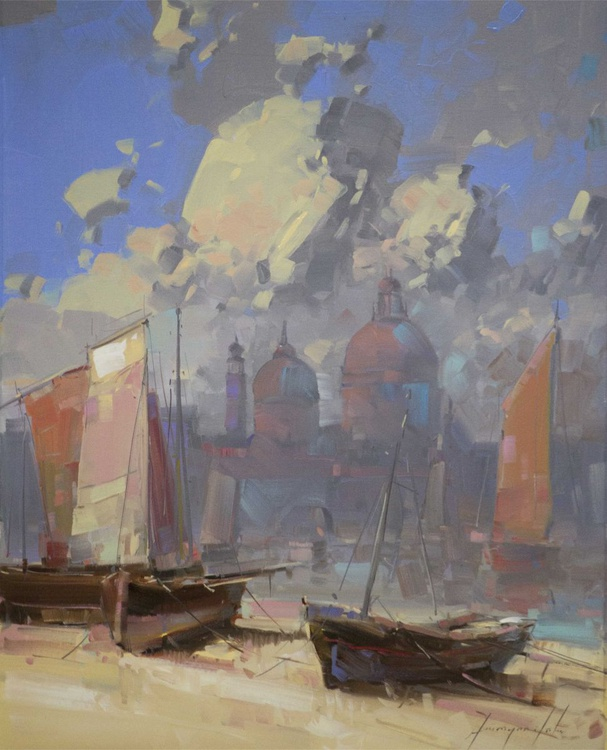 Venice and Harbor Handmade oil Painting on Canvas One of a Kind - Image 0