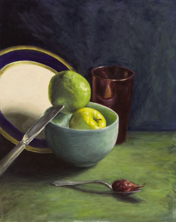 Still lIfe with Apples, Knife, and Shallot - Image 0