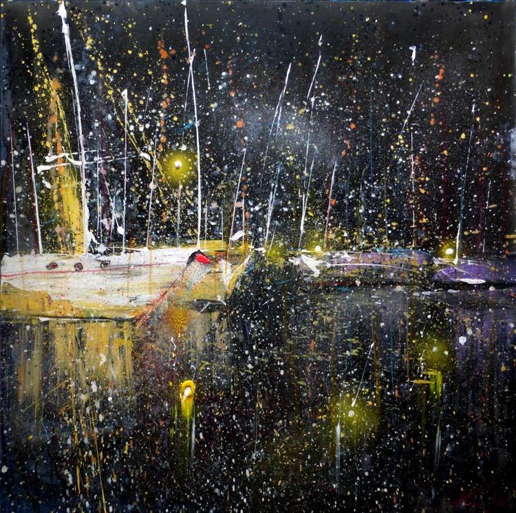 Night Yachts, large painting 100x100 cm - Image 0