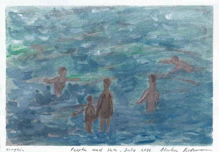 People and Sea II, July 2016, acrylic on paper, 20 x 28,6 cm -