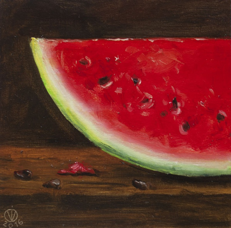 Watermelon (15x15cm) original oil painting little still life realistic vintage style small gift kitchen decor - Image 0