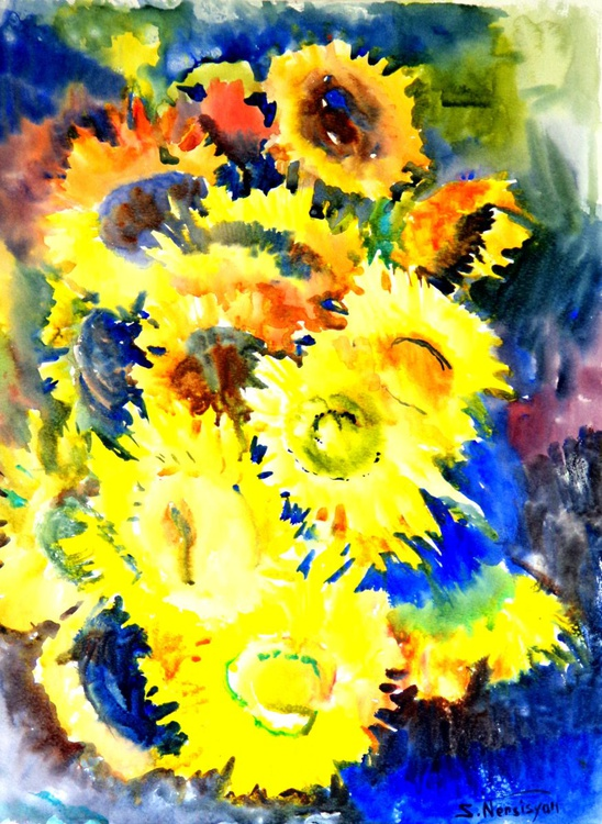 Sunflowers (Bright Yellow, Blue composition) - Image 0