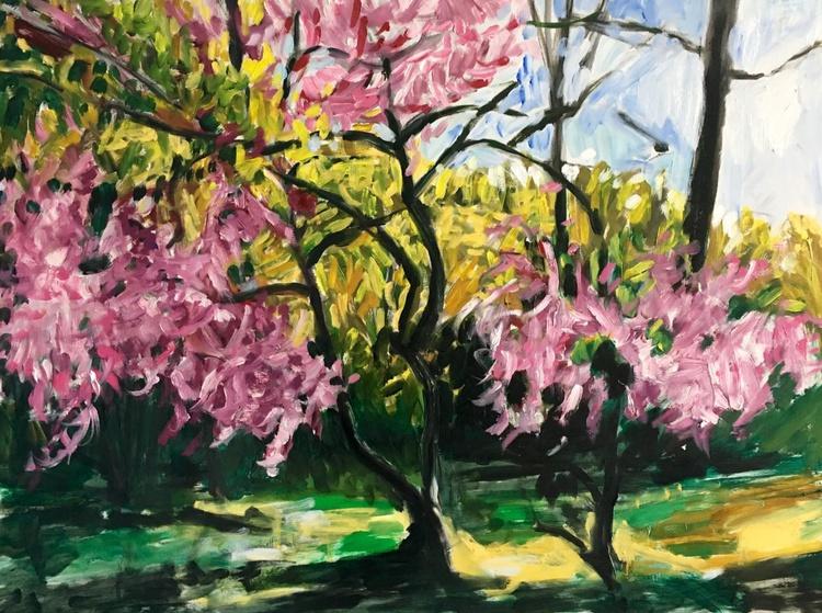 Redbud Blooming, Large impressionist landscape painting, original oil on board - Image 0