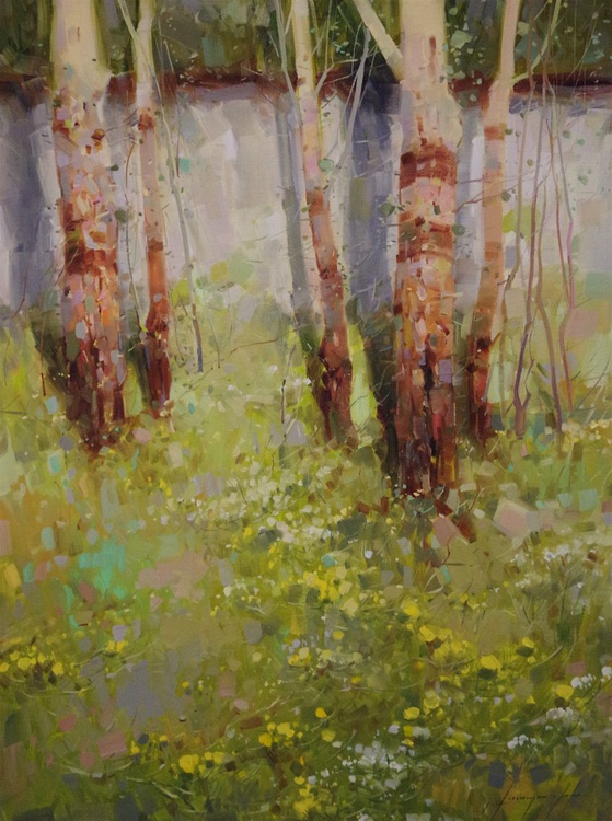 Birches Grove, Landscape Original oil painting  Handmade artwork One of a kind Signed - Image 0