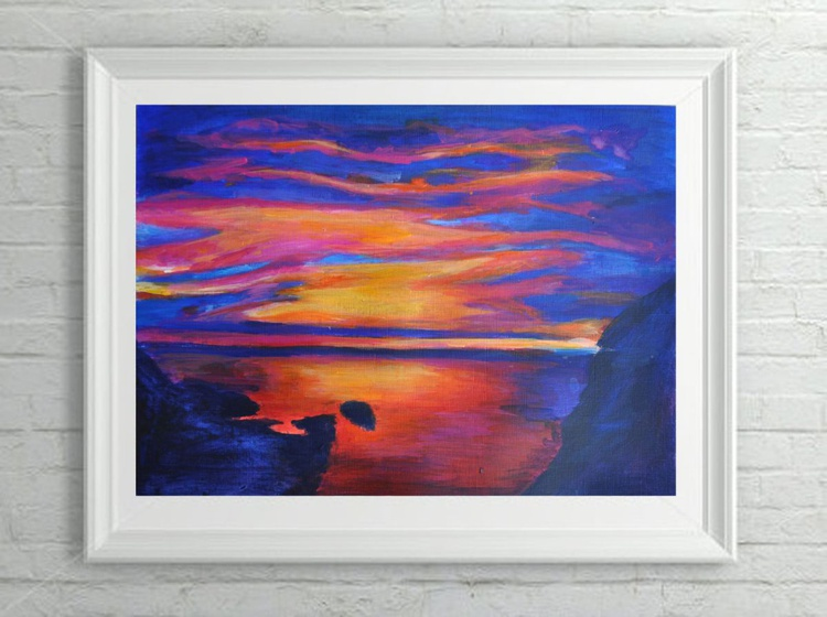 """Abstract Geometric Landscape Painting - """"Ice and Fire"""" Acrylic on Canvas Paper - Image 0"""