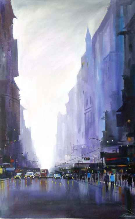 City Street at Rainy Day-Acrylic on Canvas -