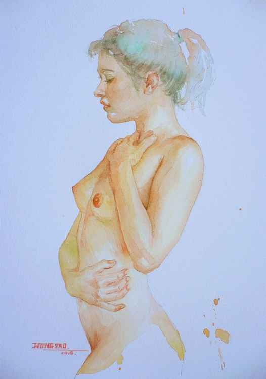 original art watercolour painting sexy nude girl  on paper #16-4-29 -