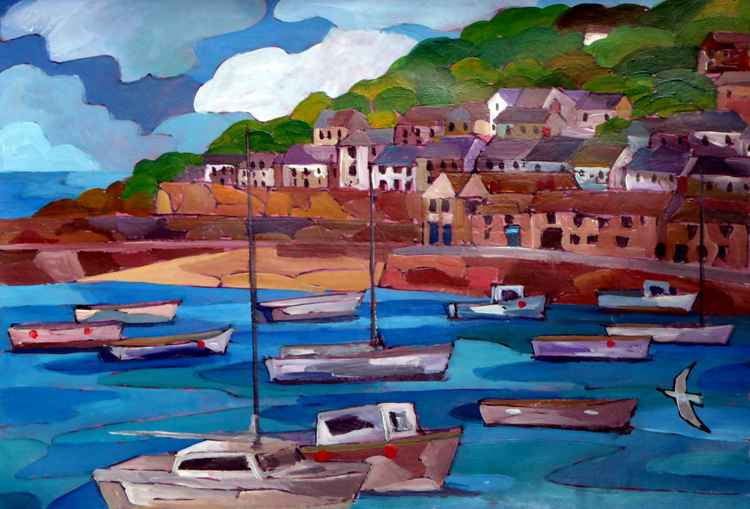 Mousehole harbour view. -
