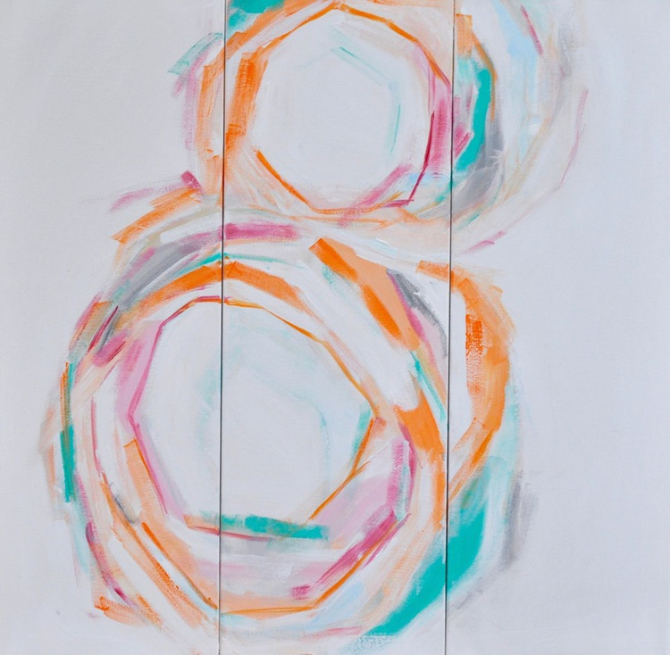 Large triptych abstract art-Modern circular wall art-Original Signed Acrylic Painting-Orange, Gray, Pink, Red, and Teal - Image 0
