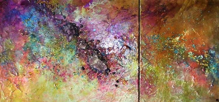 Abstract with Amethyst, mixed media, modern painting, glass wall art - Image 0
