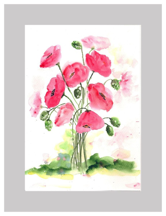 """Poppies 7""""x 10"""" - Image 0"""