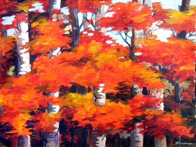 Beauty of Autumn Forest-Acrylic on Canvas painting -