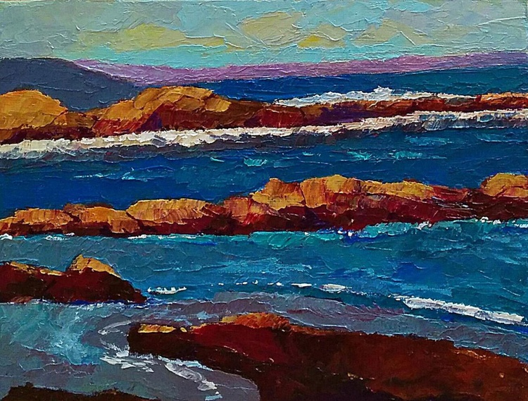 "Framed Small Paintings, Rocks in a seascape, ""Hushed"" - Image 0"
