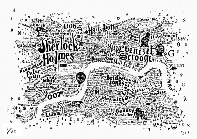 Literary Central London Map (white screenprint) - Image 0