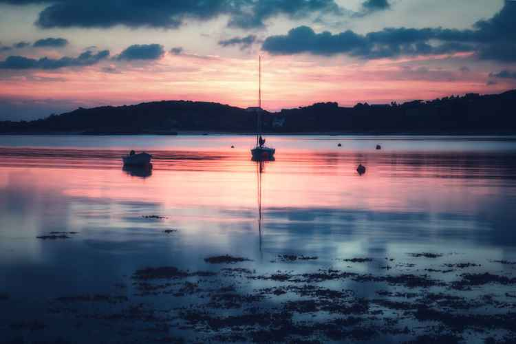 Sunset on Tresco with Yachts