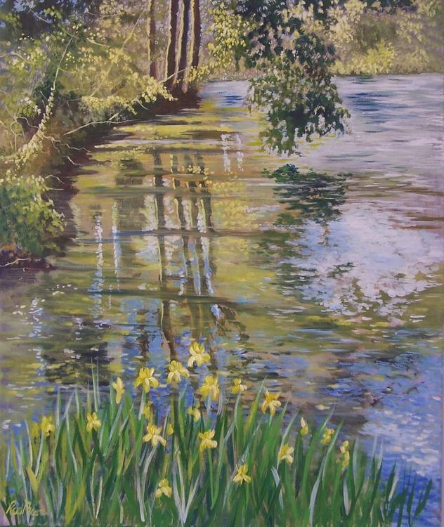 Brockhill Park Lake and irises - Image 0