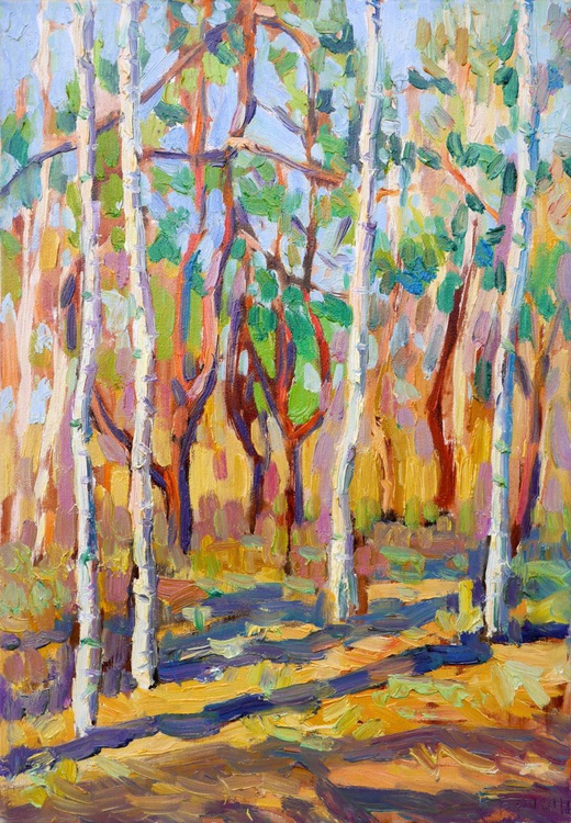 The Birch Trees and the Pine Trees, Evening. Early Spring. - Image 0