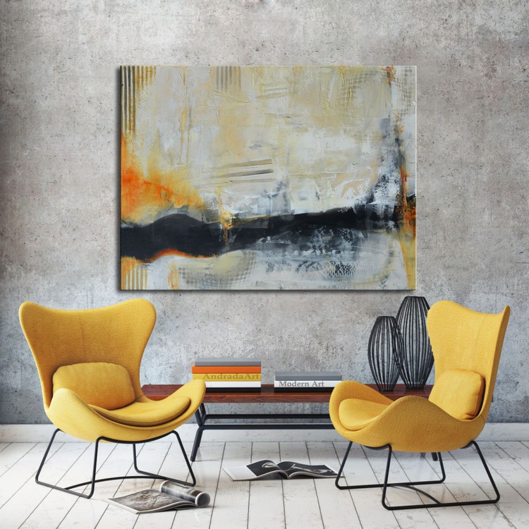 Full Circle - Black, White and Orange Abstract Painting - Image 0