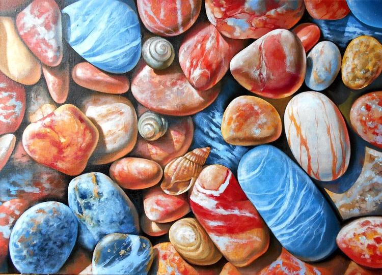 Pebbles on the beach, Original oil on canvas - Image 0