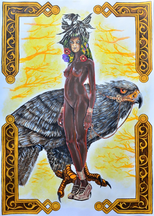 Queen Of The Birds - Acrylic Art Painting On A1 Big Size Paper - Image 0