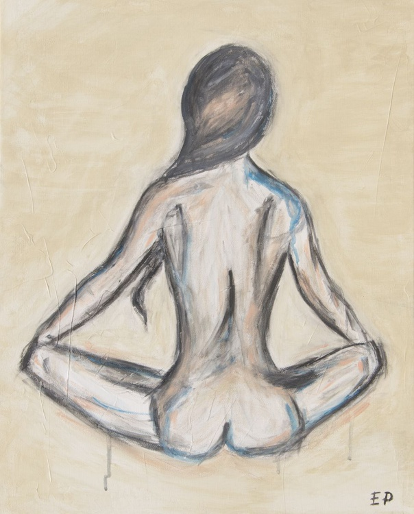 Sitting Nude- Figure Painting-Abstract-ORIGINAL SIGNED acrylic and gouache painting, Blue and Peach. - Image 0