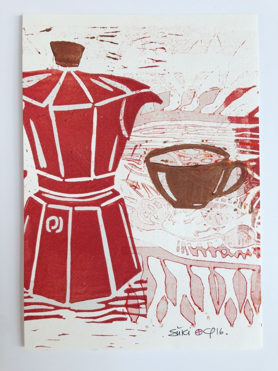 "Series ""LittleKitchenArt"": Red Espresso Maker - Image 0"