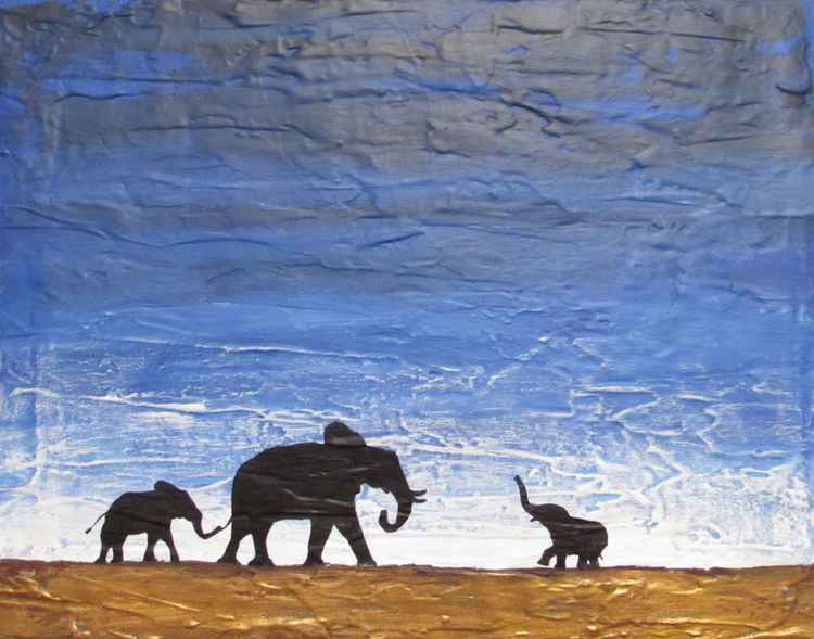 "original abstract landscape african art ""elephants , family reunion"" africa animal painting art canvas - 40 x 50 cm -"