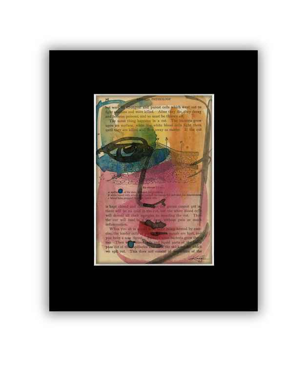 """I See 26"" on Antique Book Page - Abstract Watercolor Painting"