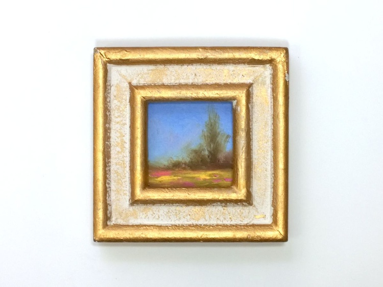Cute Spring Meadow Mini Framed Contemporary Oil Painting - Image 0