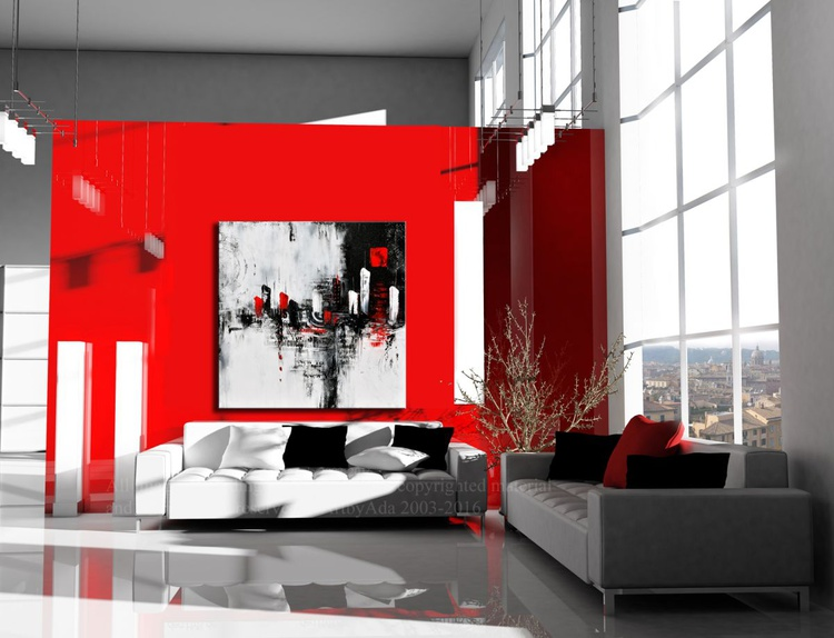 """"""" The Red District"""" Large Painting On Canvas, abstract art, abstract canvas art, minimalist art, black, white and red art, Handmade black and white wall art - Image 0"""