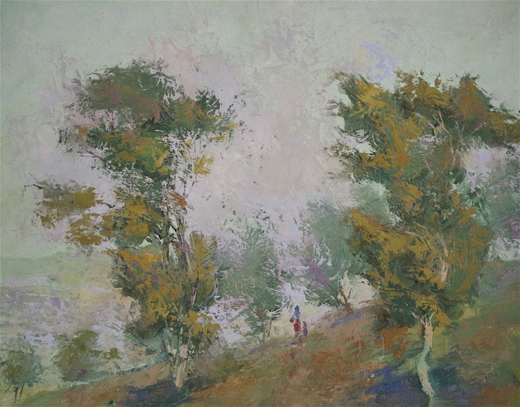 Landscape oil painting, Trees on a Hill, Impressionism, One of a kind, Signed, Handmade art. - Image 0