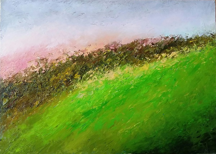 Spring wind. Blooming meadow, 70x50 cm, original artwork,  FREE SHIPPING - Image 0