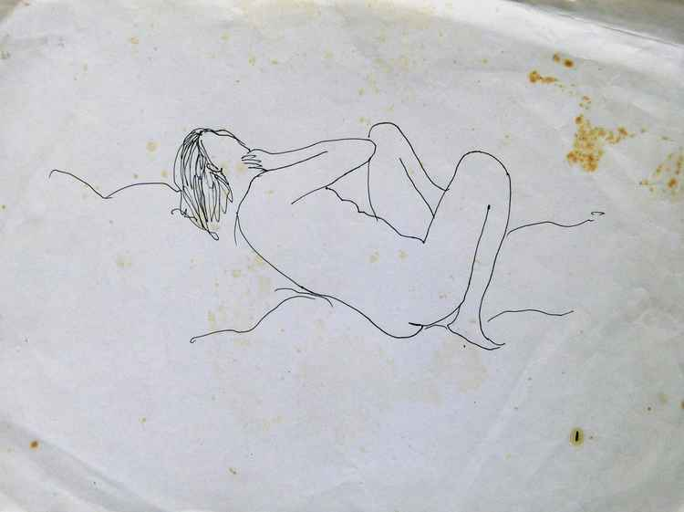Reclining nude, old sketch, 24x32 cm -
