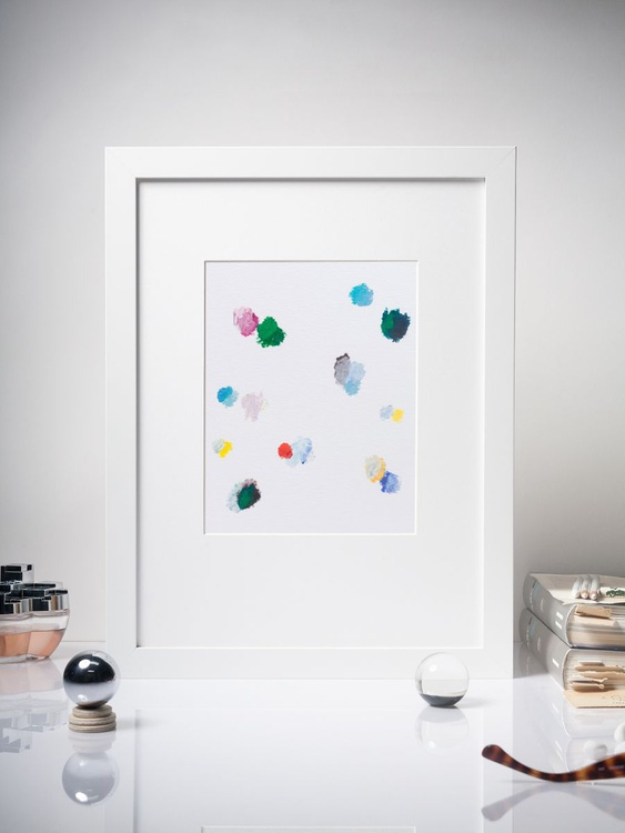 Color Interactions #01 - Contemporary Dots Painting -  Framed 30x40cm - Image 0