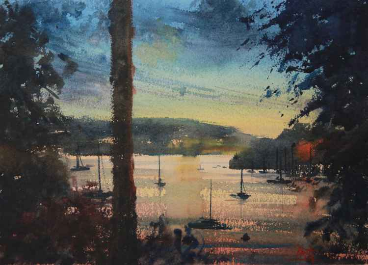 View of Dartmouth and Kingswear at sunset