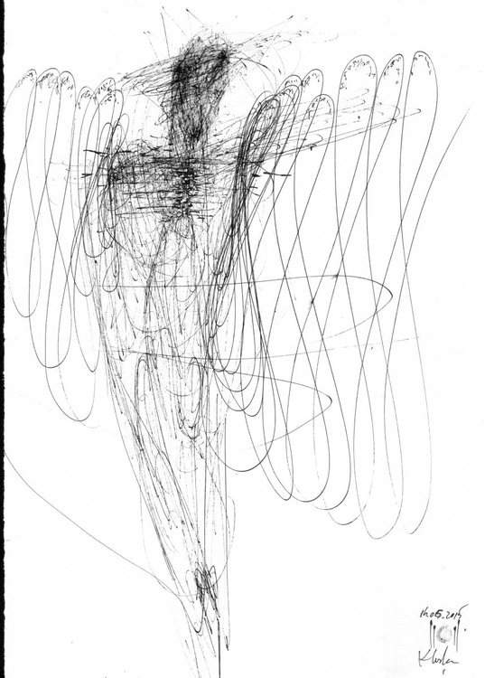 SIGNAL ANGEL SIGNED BY MASTER OVIDIU KLOSKA SPONTANE LINES OF CREATION ONIRIC SPIRITUAL - Image 0