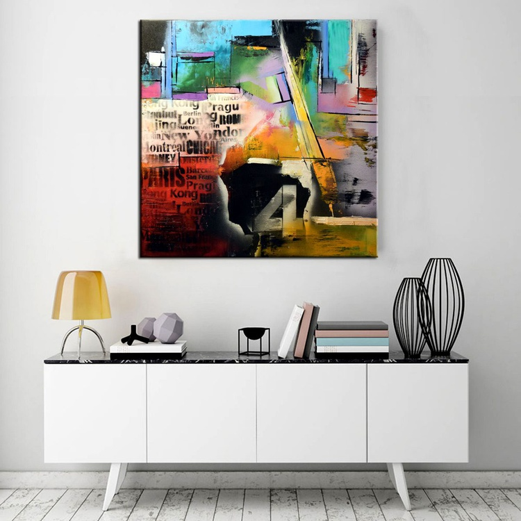 Dream Map- Abstract expressionist painting, 30x30 urban abstract contemporary painting - Image 0