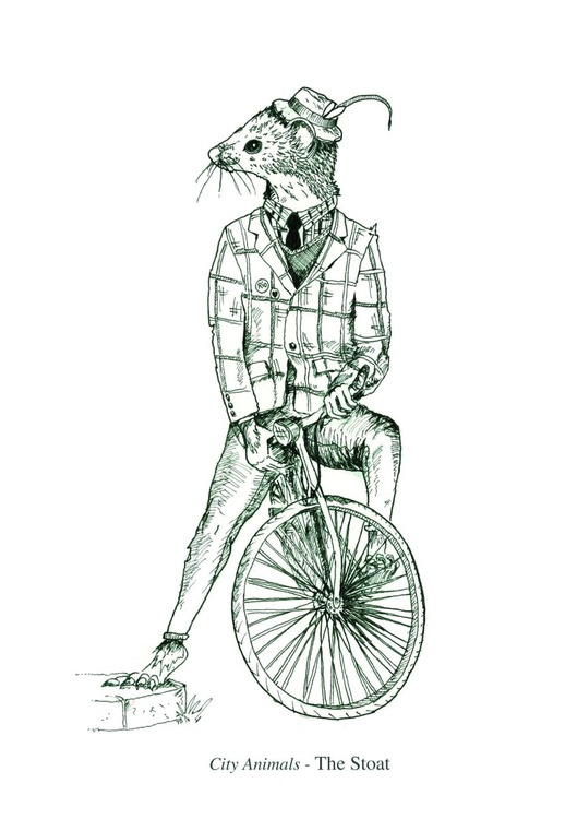City Animals - The Stoat - Highest Quality Limited Digital Print - Image 0