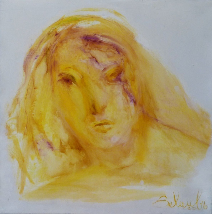 Portrait in Yellow, oil on canvas, 40x40 cm - Image 0
