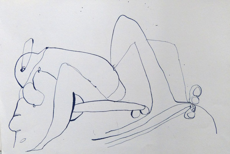 Surrealist Lovers 5, ink on paper 42x30 cm - Image 0
