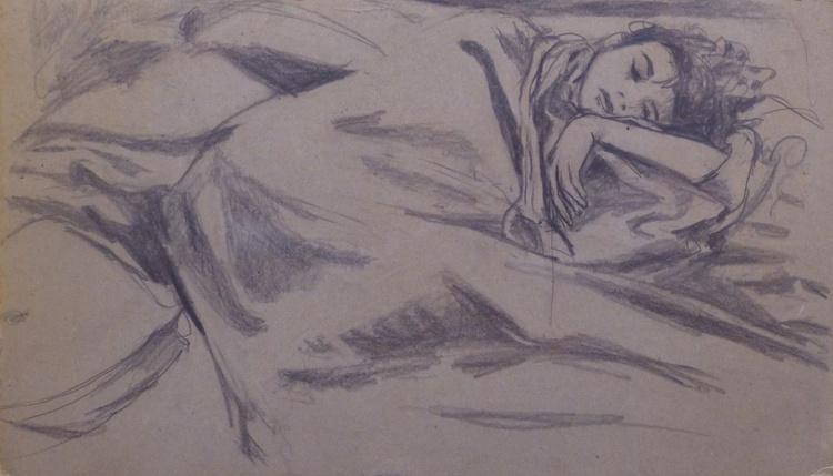 Sleeping Beauty, pencil on cardboard 55x32 cm - Image 0