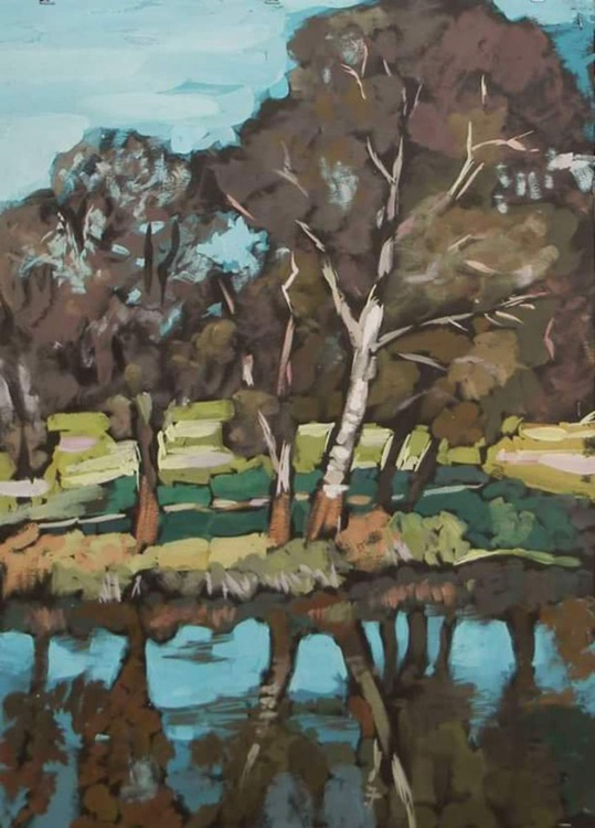 trees by the river,  50x70 cm - Image 0